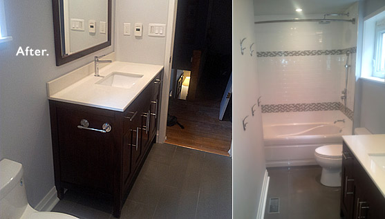 Elegant makeover of a 4 pc bathroom